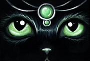 Green Eyes Posters - Jeweled Kitty 10 Mint Jade Poster by Elaina  Wagner