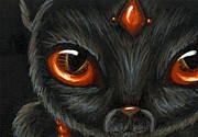 Black Painting Posters - Jeweled Kitty 9 Carnelian Poster by Elaina  Wagner