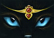 Cat Eyes Posters - Jeweled Kitty Garnet Poster by Elaina  Wagner