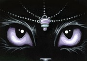 Black Cat Fantasy Framed Prints - Jeweled Kitty Lilac Topaz Framed Print by Elaina  Wagner