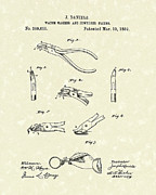 Jewelers Framed Prints - Jewelers Pliers 1889 Patent Art Framed Print by Prior Art Design