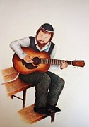 Orthodox Drawings Framed Prints - Jewish Guitarist Framed Print by Kim Viola