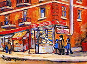 Montreal Neighborhoods Paintings - Jewish Montreal Vintage City Scenes Old Continental Kosher Butcher Shop by Carole Spandau