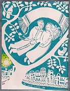 Prayer Shawl Paintings - Jewish Wedding Papercut by Chana Helen Rosenberg