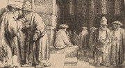 Jews In The Synagogue Print by Rembrandt