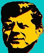 Politics Prints Digital Art Prints - JFK 1 - Kennedy Pop Art Print by Peter Art Print Gallery  - Paintings Photos Posters