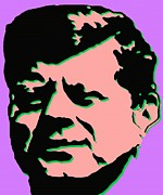 Purple Digital Art Digital Art Digital Art Drawings - JFK 2 - Kennedy Pop Art Illustration by Peter Art Prints Posters Gallery