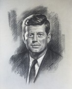 Camelot Drawings Prints - JFK portrait Print by J Pat Denman