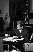 Featured Framed Prints - JFK Signing The Cuba Quarantine Framed Print by War Is Hell Store