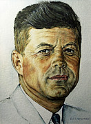 Black Tie Painting Framed Prints - JFK - Tribute To Rockwell Framed Print by Danny Jimenez