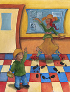 Storybook Paintings - Jhonan and his Teacher  by Stephanie  Broker