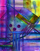 Vibrant Color Mixed Media - Jibe Joist I by Moon Stumpp