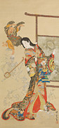 Temptress Painting Framed Prints - Jigoku Dayu Framed Print by Kawanabe Kyosai