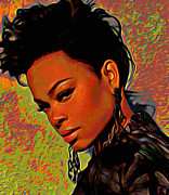 Shoulder Digital Art Metal Prints - Jill Scott Metal Print by Byron Fli Walker