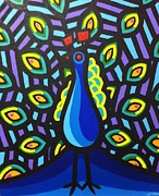 Tropical Bird Art Print Posters - Jillians Peacock Poster by John  Nolan
