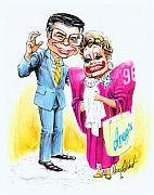 Caricature Drawings Metal Prints - Jim and Tammy Metal Print by Harry West