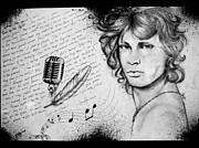 Jim Morrison Drawings Prints - Jim  Print by Bitta -  Silvia Mariottini