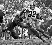 Football Photographs Posters - Jim Brown #32 Poster by R A W M