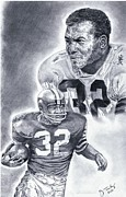 Hall Of Fame Drawings Framed Prints - Jim Brown Framed Print by Jonathan Tooley