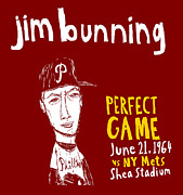 Phillies Art Painting Posters - Jim Bunning Philadelphia Phillies Poster by Jay Perkins