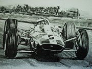 Motorsport Drawings - Jim Clark action by Juan Mendez
