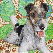 Fox Terrier Posters - Jim. Fox Terrier Portrait Poster by Mira Slava Shulzhevskaya