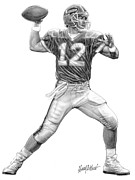 Quarterback Drawings - Jim Kelly by Harry West