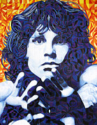 Celebrities Drawings Framed Prints - Jim Morrison Chuck Close Style Framed Print by Joshua Morton