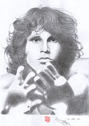 Jim Morrison Drawings Prints - Jim Morrison Print by Eliza Lo