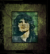 Jim Morrison Prints - Jim Morrison - Green Print by Absinthe Art  By Michelle Scott