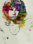 Celebrities Painting Framed Prints - Jim Morrison Framed Print by Irina  March