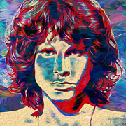 Live Music Digital Art Posters - Jim Morrison Poster by Jack Zulli
