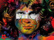 Abstract Stars Mixed Media Framed Prints - Jim Morrison Framed Print by Mark Ashkenazi