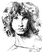Jim Morrison Drawings Prints - Jim Morrison  Print by Miguel Osorio