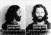 Jim Morrison Digital Art Prints - Jim Morrison Mug Shot in Black and White Print by Digital Reproductions