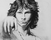Doors Drawings Prints - Jim Morrison. Original charcoal drawing. Print by Kira Rubtsova