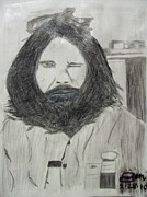 Photo Manipulation Drawings Metal Prints - Jim Morrison Pencil Metal Print by Jimi Bush
