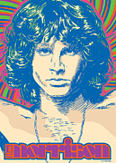 Jim Morrison Framed Prints - Jim Morrison Pop Art Framed Print by Jim Zahniser