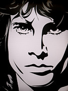 Lead Singer Painting Metal Prints - Jim Morrison  Metal Print by Ryszard Sleczka