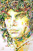 Jim Morrison Paintings - Jim Morrison Watercolor Portrait.2 by Fabrizio Cassetta