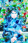 Jim Morrison Photo Prints - Jim Morrison Watercolor Portrait.3 Print by Fabrizio Cassetta