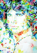 Singer Paintings - Jim Morrison Watercolor Portrait.5 by Fabrizio Cassetta
