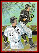 Chicago White Soxs Mixed Media Prints - Jim Thome Chicago Power Hitter Print by Ray Tapajna