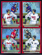 Phillies  Mixed Media Posters - Jim Thome hits 600th home run Poster by Ray Tapajna