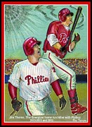 Phillies  Mixed Media Posters - Jim Thome the Energizer  Poster by Ray Tapajna