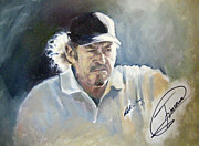 Famous Golfers Framed Prints - Jimenez oil sketch Framed Print by Mark Robinson