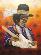 Music Mixed Media - Jimi 4 by Charles Vaughn