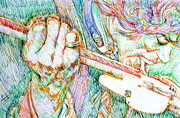 Stratocaster Drawings Prints - JIMI and his GUITAR Print by Fabrizio Cassetta
