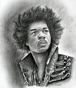 Music Drawings Framed Prints - Jimi Framed Print by E White
