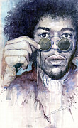 Celebrities Painting Framed Prints - Jimi Hendrix 08 Framed Print by Yuriy  Shevchuk